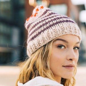 free people tullamore knit stripe beanie hat boho